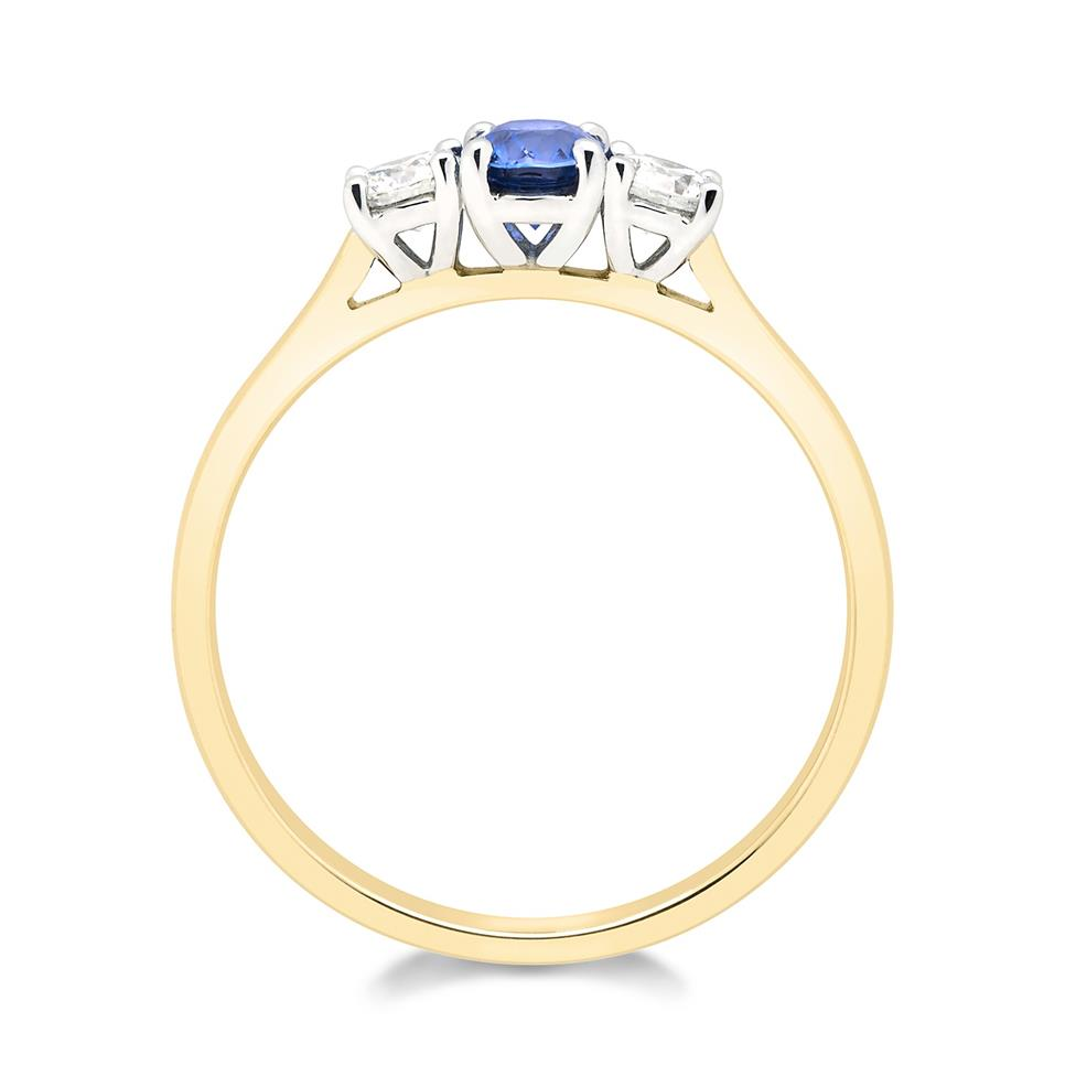 18ct Yellow Gold Oval Sapphire and Diamond Three Stone Ring Thumbnail Image 1
