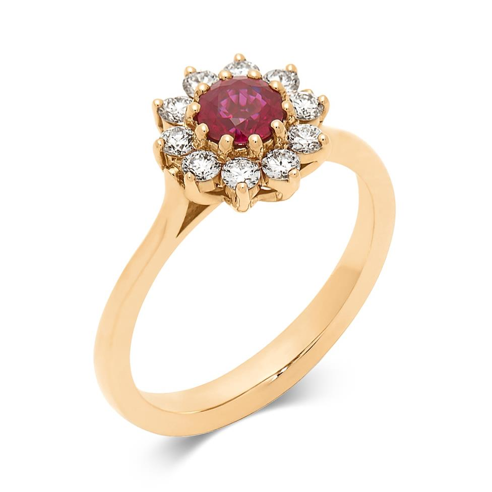 18ct Yellow Gold Ruby and Diamond Flower Cluster Ring Image 1