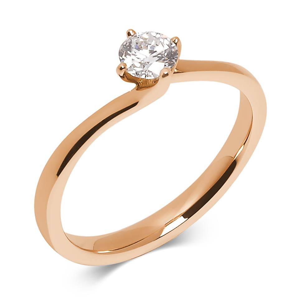 18ct Rose Gold 0.35ct Diamond Twist Solitaire Ring Thumbnail Image 0
