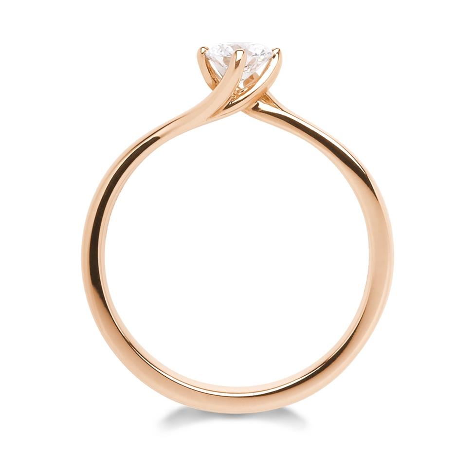 18ct Rose Gold 0.35ct Diamond Twist Solitaire Ring Thumbnail Image 2