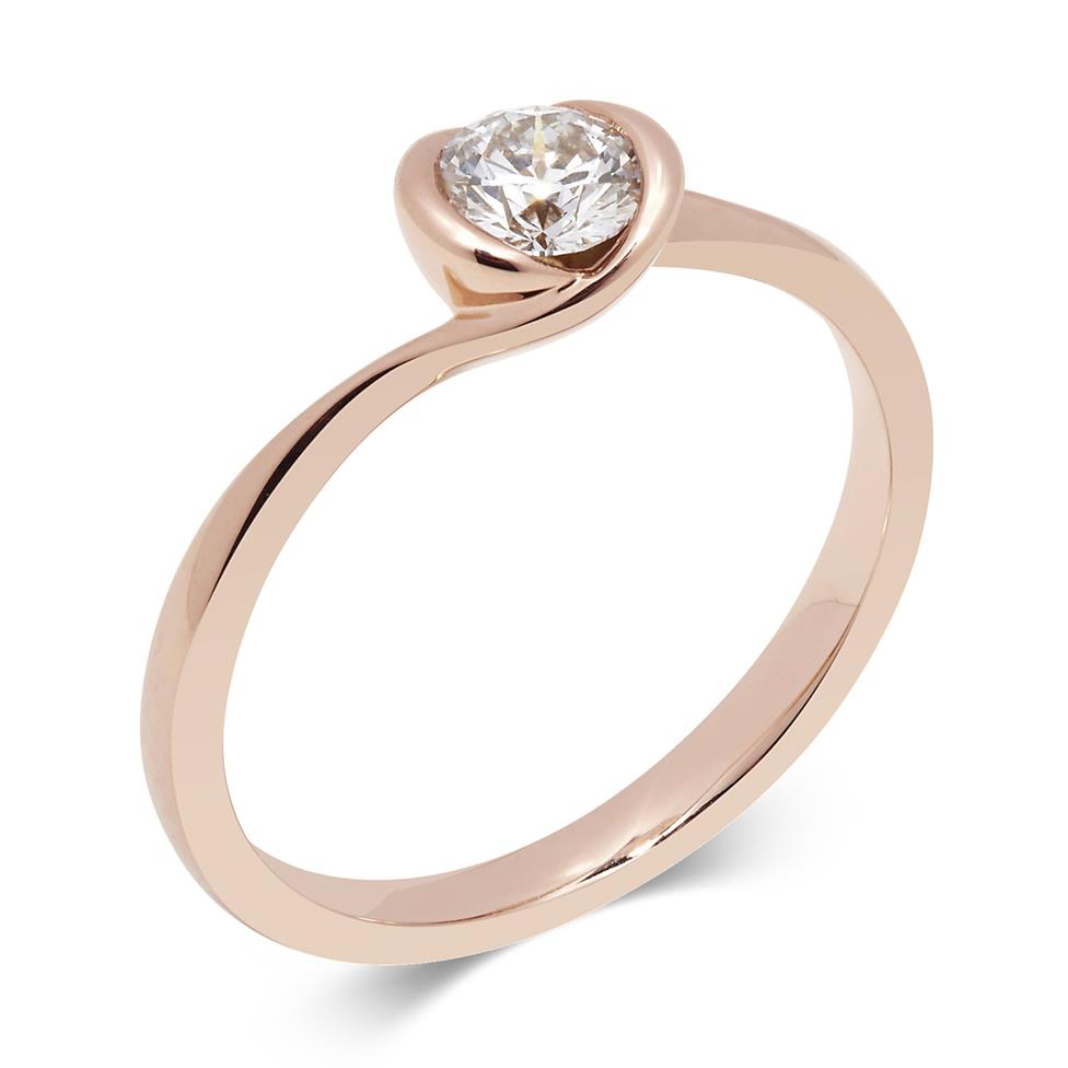 18ct Rose Gold Twist Design Diamond Solitaire Engagement Ring 0.35ct Thumbnail Image 0