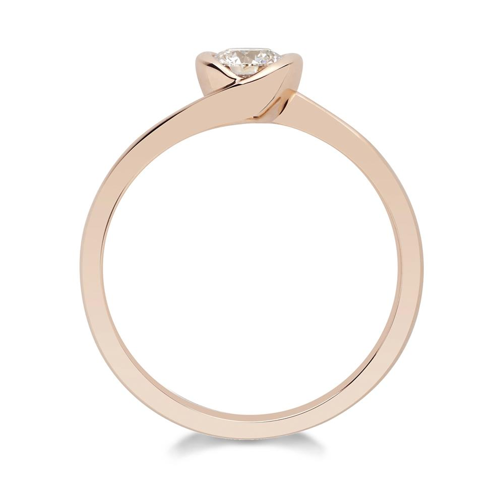 18ct Rose Gold Twist Design Diamond Solitaire Engagement Ring 0.35ct Thumbnail Image 1