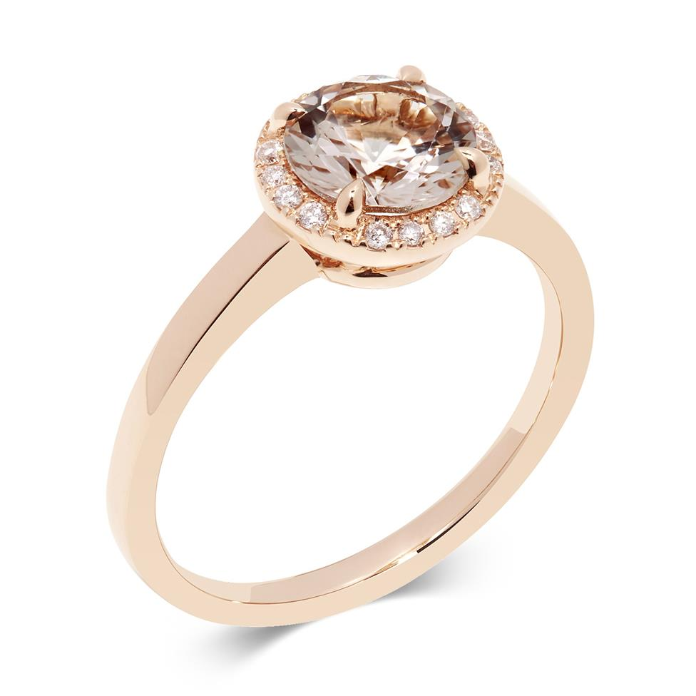 Camellia 18ct Rose Gold Morganite and Diamond Ring Thumbnail Image 0