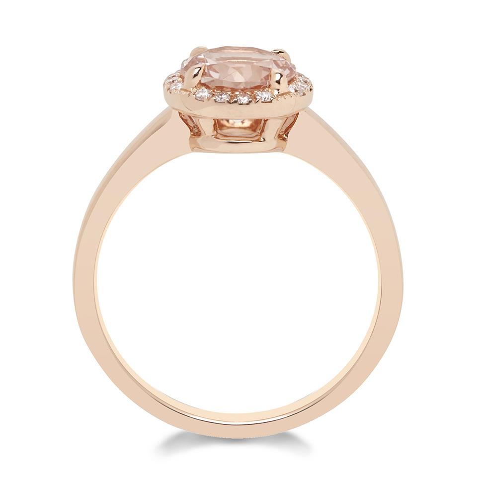 Camellia 18ct Rose Gold Morganite and Diamond Ring Thumbnail Image 1