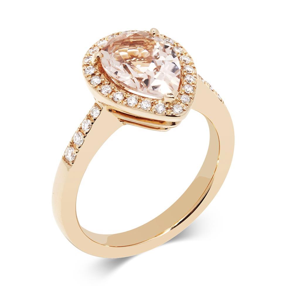 Ortensia 18ct Rose Gold Pear Shape Morganite and Diamond Halo Dress Ring Thumbnail Image 0