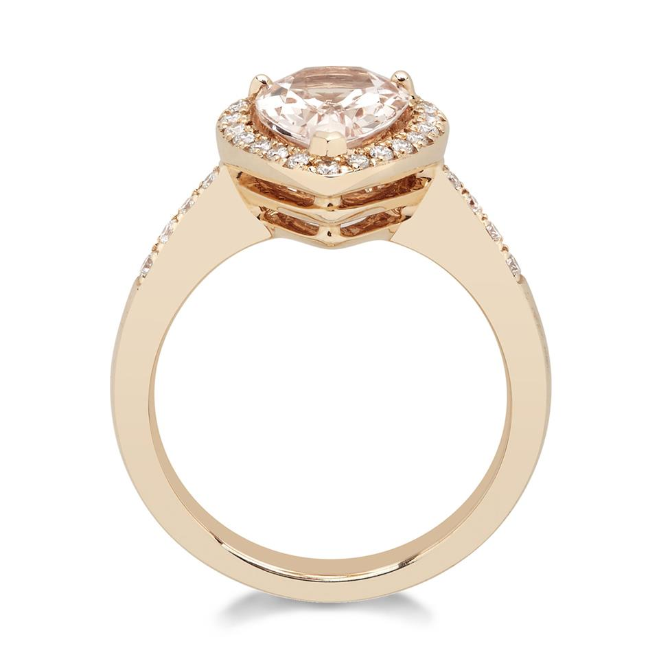 Ortensia 18ct Rose Gold Pear Shape Morganite and Diamond Halo Dress Ring Thumbnail Image 1