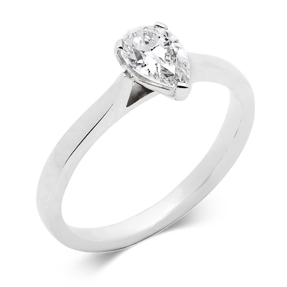 Platinum Diamond Pear Shape Solitaire Ring 0.70ct Thumbnail Image 0