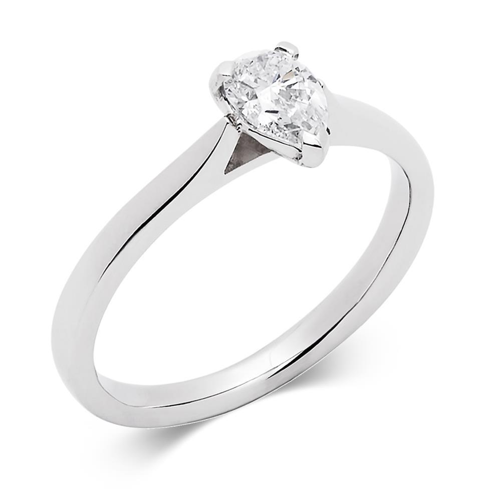 Platinum Diamond Pear Shape Solitaire Ring 0.50ct Thumbnail Image 0