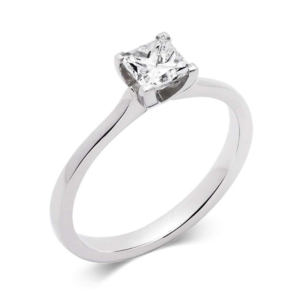Platinum Princess Cut Diamond Solitaire Engagement Ring 0.70ct Thumbnail Image 0
