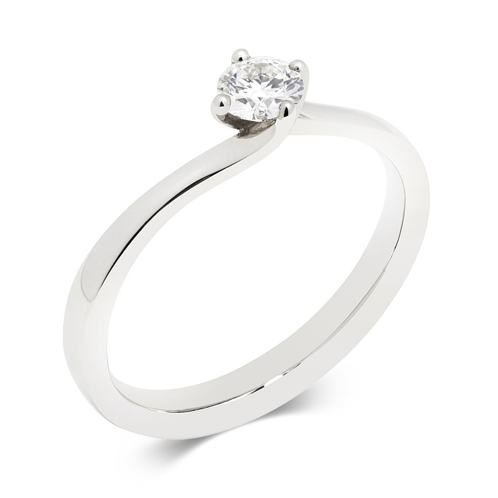 Platinum 0.25ct Diamond Twist Solitaire Ring Thumbnail Image 0