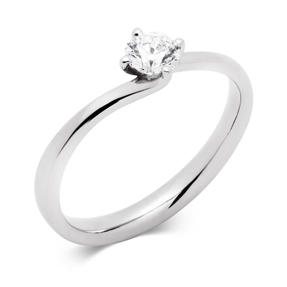 Platinum 0.35ct Diamond Twist Solitaire Ring Thumbnail Image 0