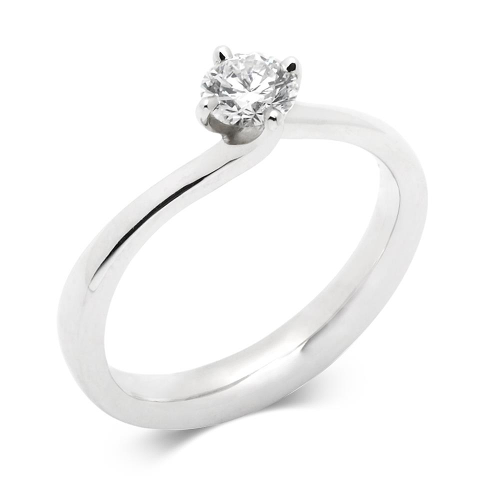 Platinum 0.40ct Diamond Twist Solitaire Ring Thumbnail Image 0