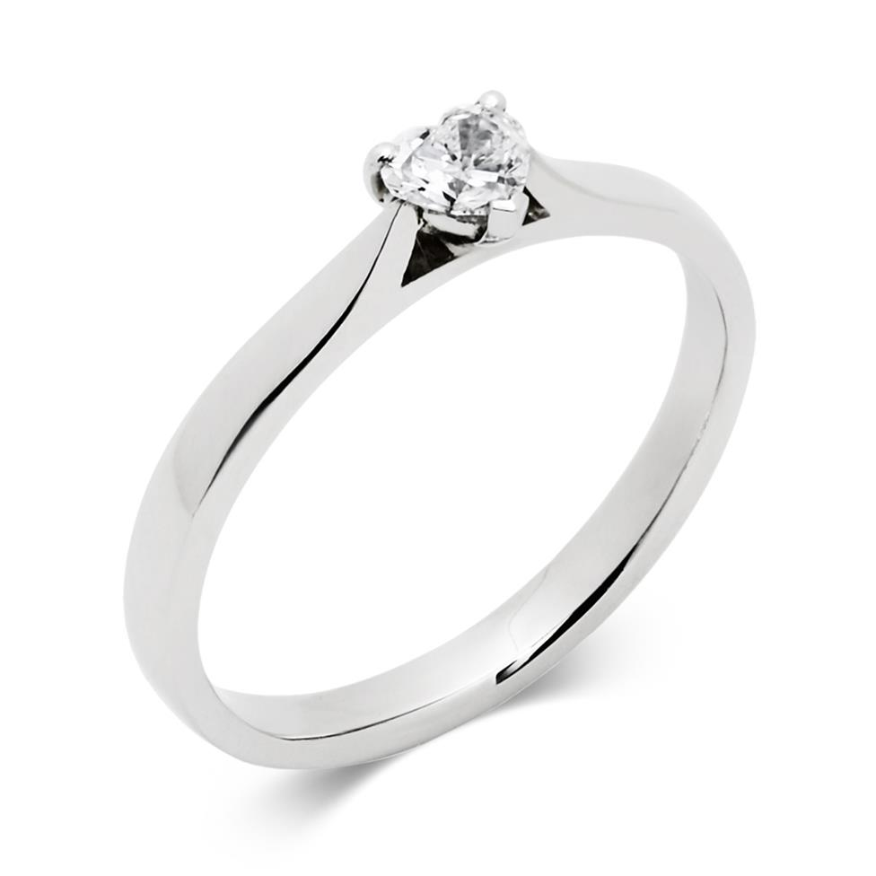 Platinum 0.25ct Diamond Heart Shape Solitaire Ring Thumbnail Image 0
