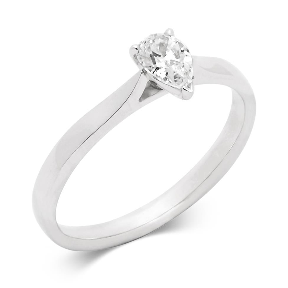 Platinum Pear Shape Diamond Solitaire Enagagement Ring 0.35ct Thumbnail Image 0