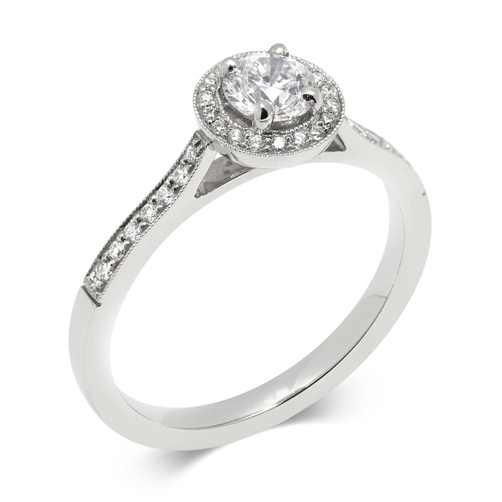 Platinum 0.58ct Vintage Inspired Diamond Halo Ring Thumbnail Image 0
