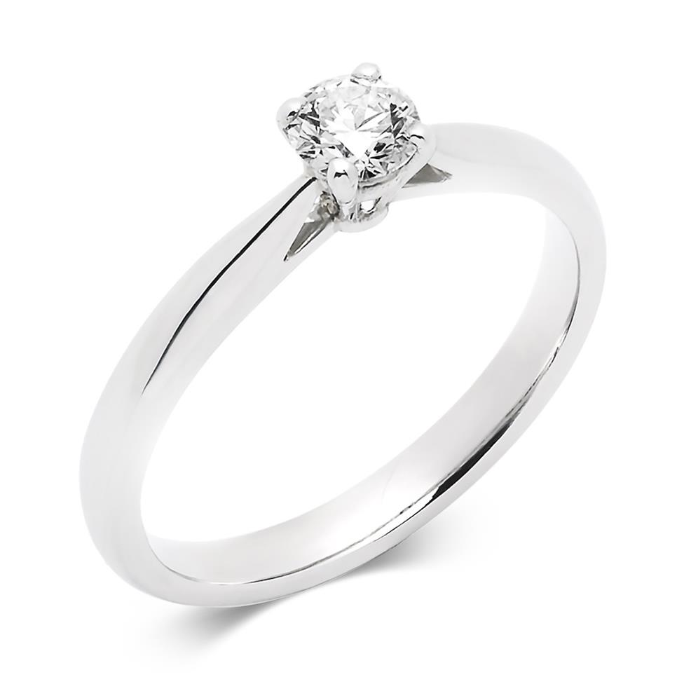 Platinum Tapered Shoulder 0.25ct Diamond Solitaire Ring Thumbnail Image 0