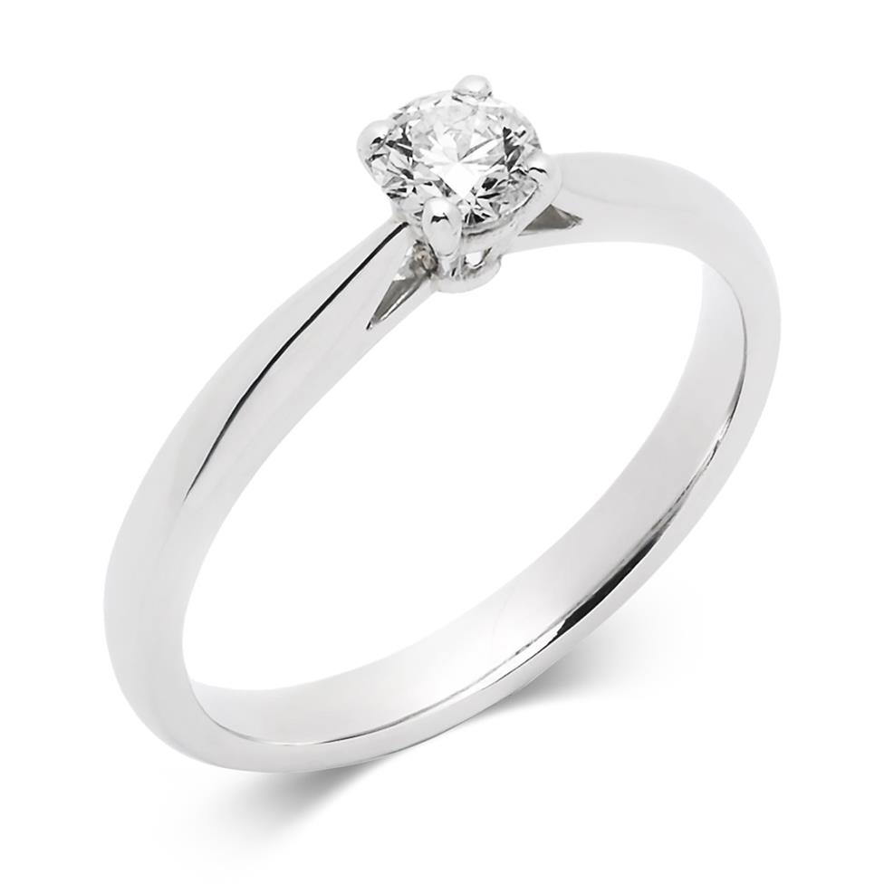 Platinum Tapered Shoulder 0.33ct Diamond Solitaire Ring Thumbnail Image 0