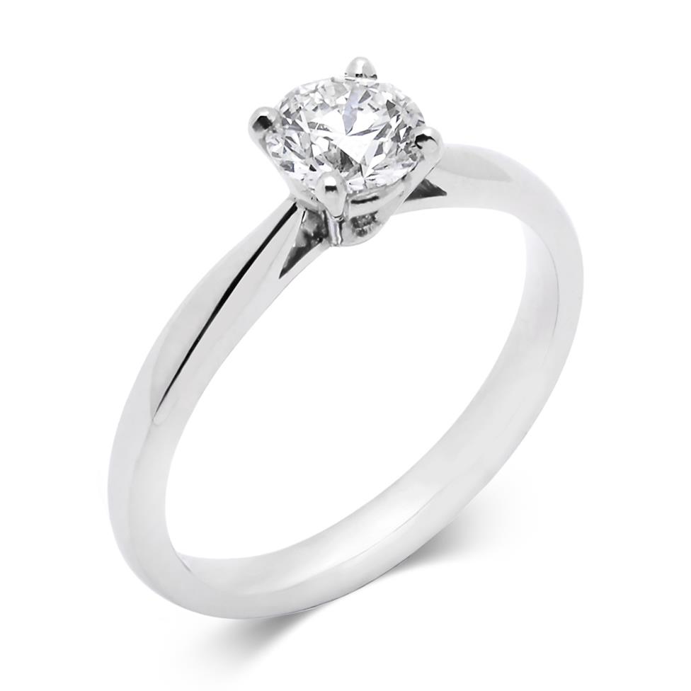 Platinum Tapered Shoulder 0.70ct Diamond Solitaire Ring Thumbnail Image 0