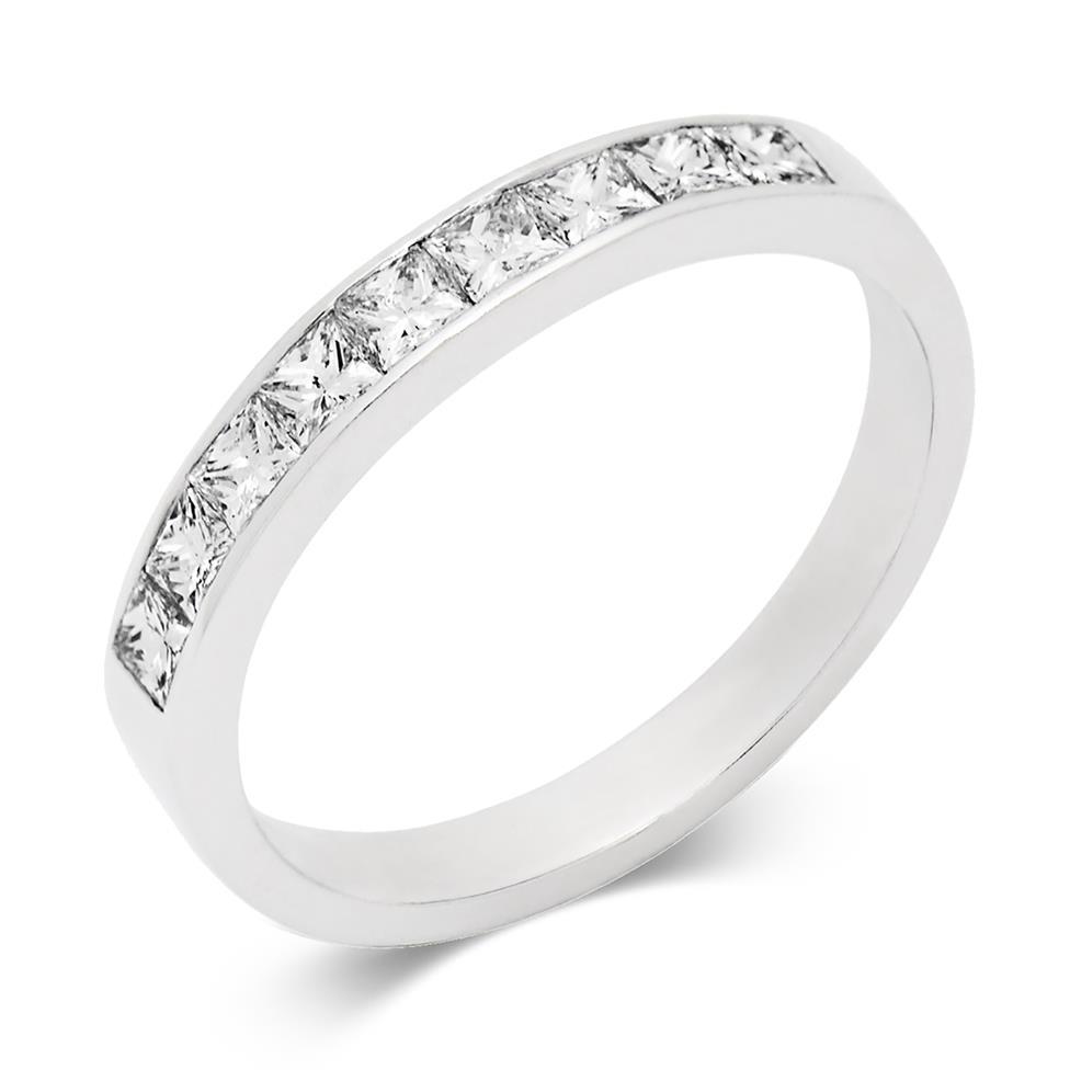 Platinum Princess Cut Diamond Half Eternity Ring 0.60ct Thumbnail Image 0