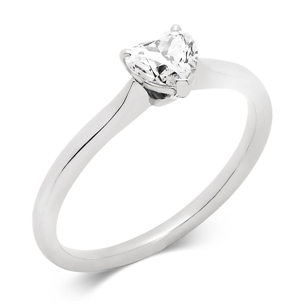 Platinum 0.50ct Diamond Heart Shape Solitaire Ring Thumbnail Image 0