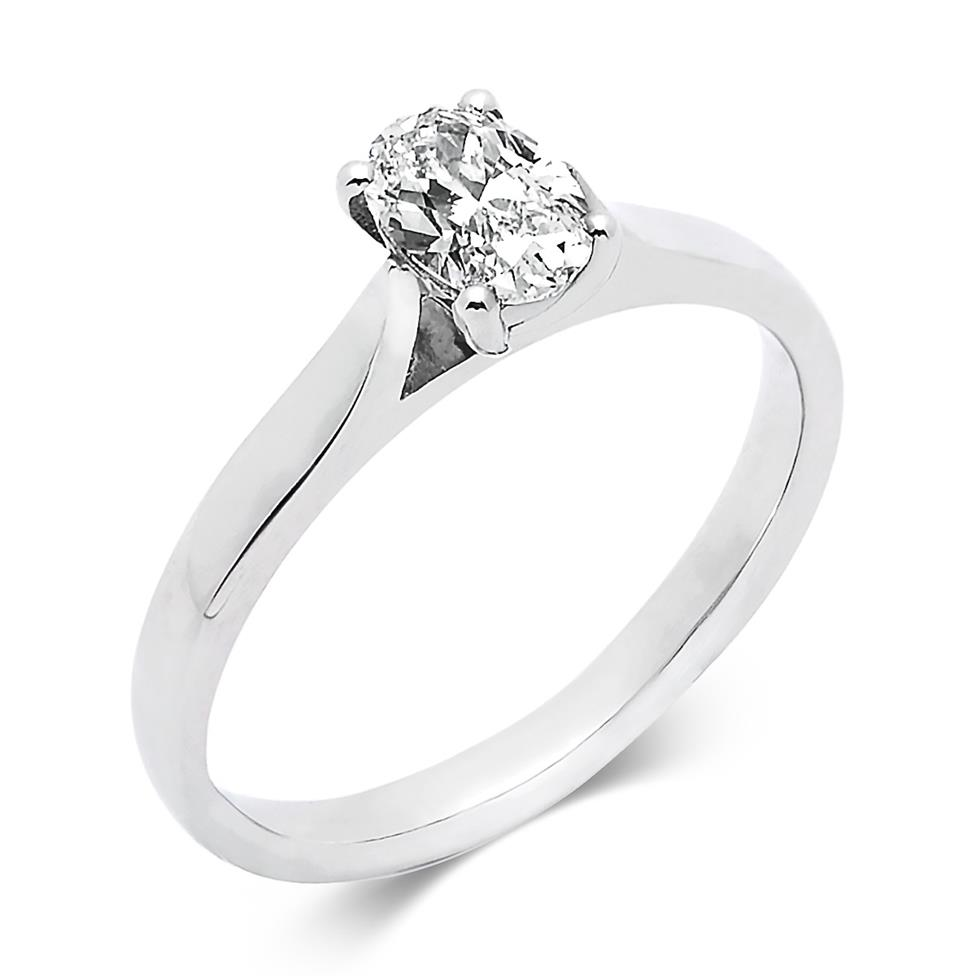 Platinum Oval Cut Diamond Solitaire Engagement Ring 0.60ct Thumbnail Image 0