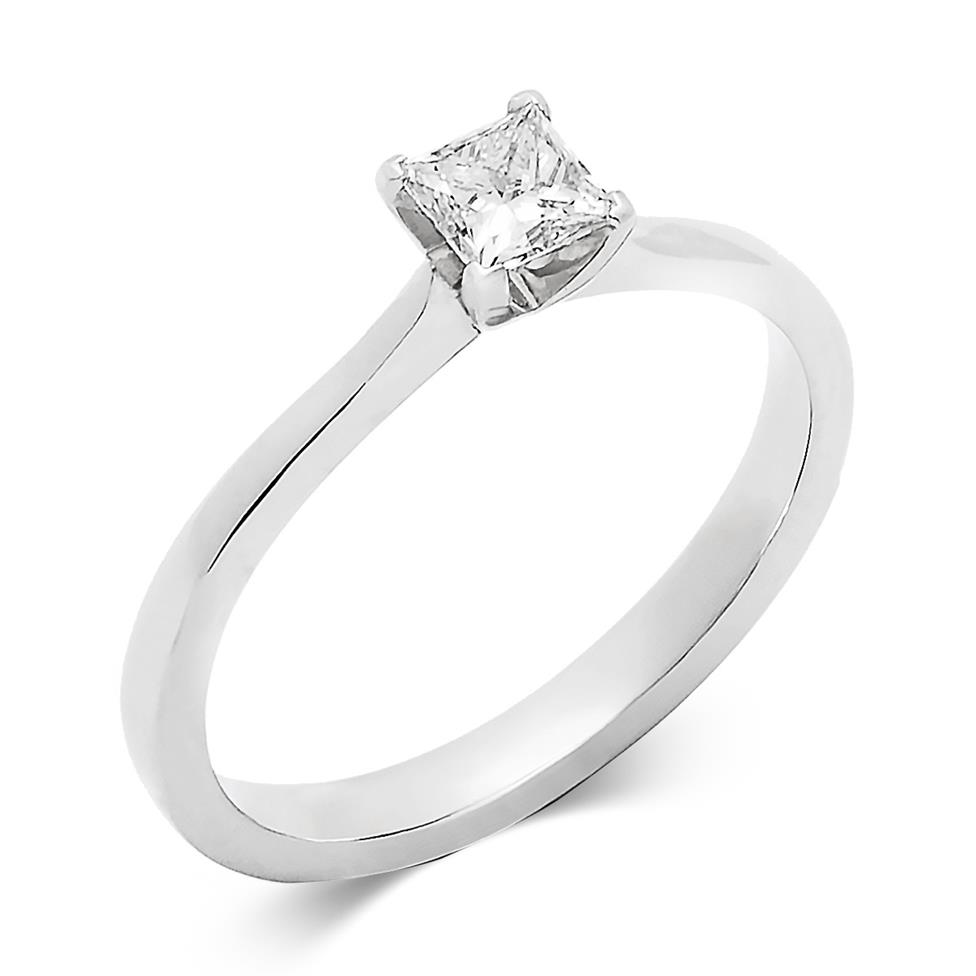 Platinum Princess Cut Diamond Solitaire Engagement Ring 0.40ct Thumbnail Image 0