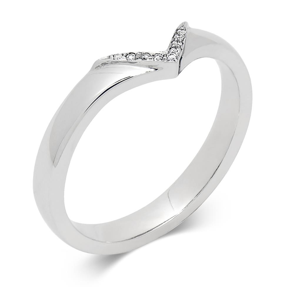 Platinum Wishbone Diamond Shaped Ring Thumbnail Image 0