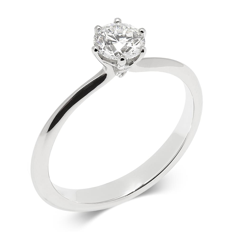 Platinum Six Claw 0.50ct Diamond Solitaire Ring Image 1