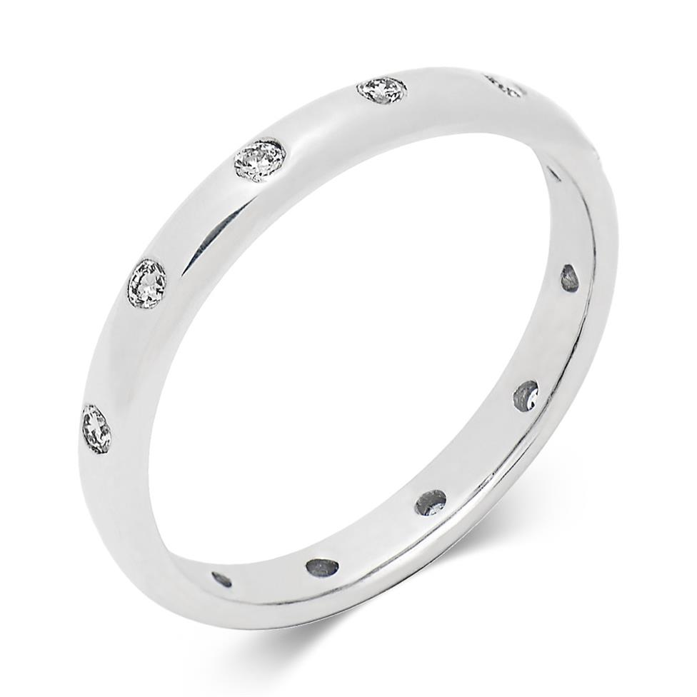 Platinum Rubover Modern Diamond Wedding Ring Thumbnail Image 0