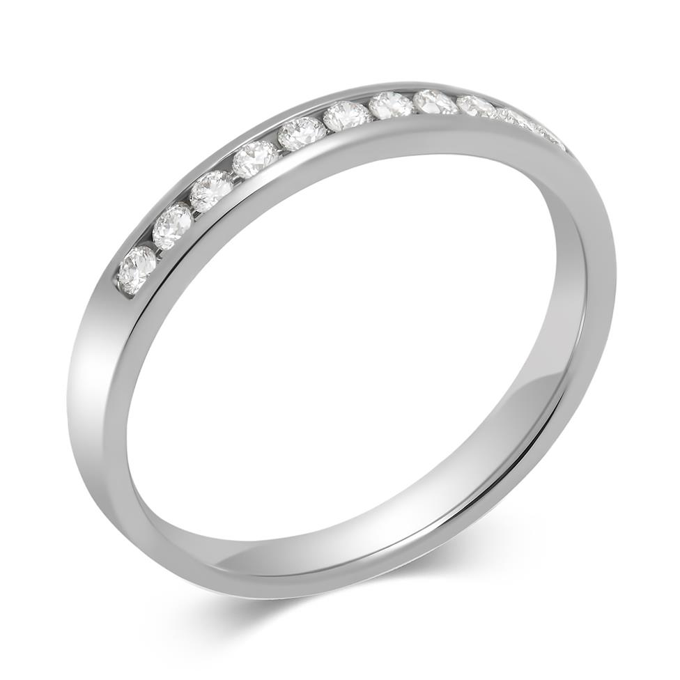 Platinum Round 0.15ct Diamond Fine Channel Ring Thumbnail Image 0
