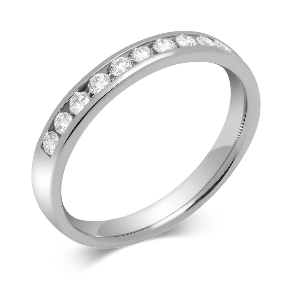 Platinum Round 0.33ct Diamond Fine Channel Ring Thumbnail Image 0