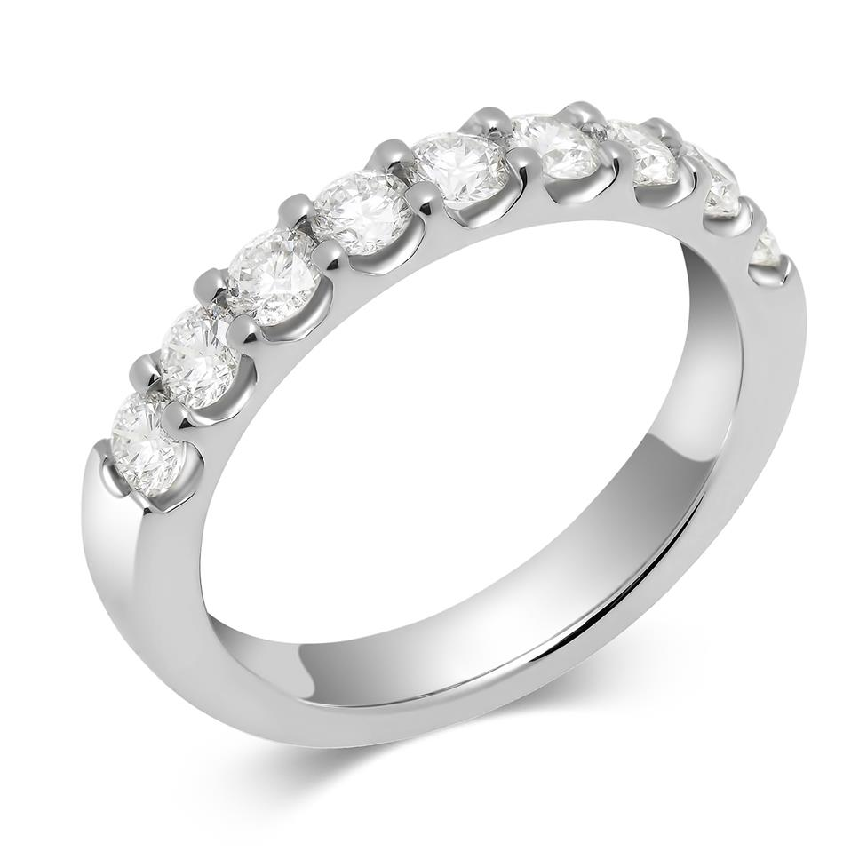 Platinum Diamond Half Eternity Ring 0.75ct Image 1