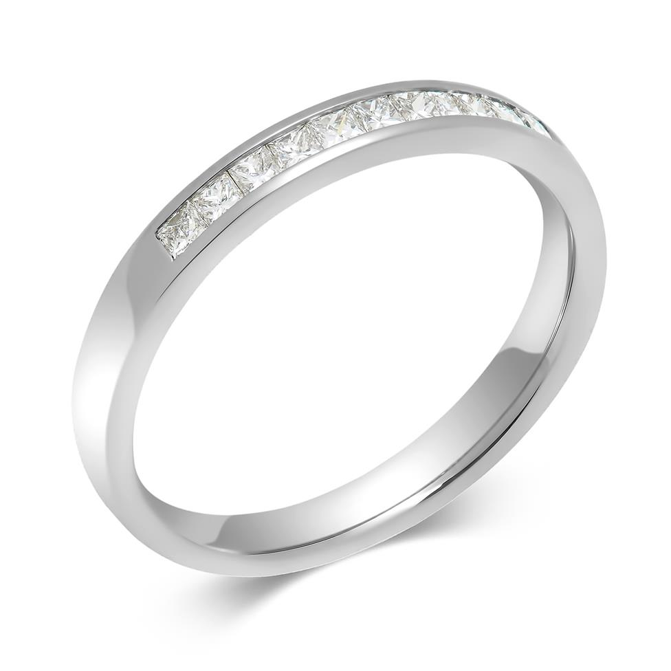 Platinum Princess Cut Diamond Half Eternity Ring 0.25ct Thumbnail Image 0