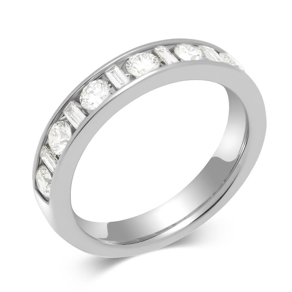 Platinum Alternating Baguette Cut Diamond Half Eternity Ring 0.75ct Thumbnail Image 0