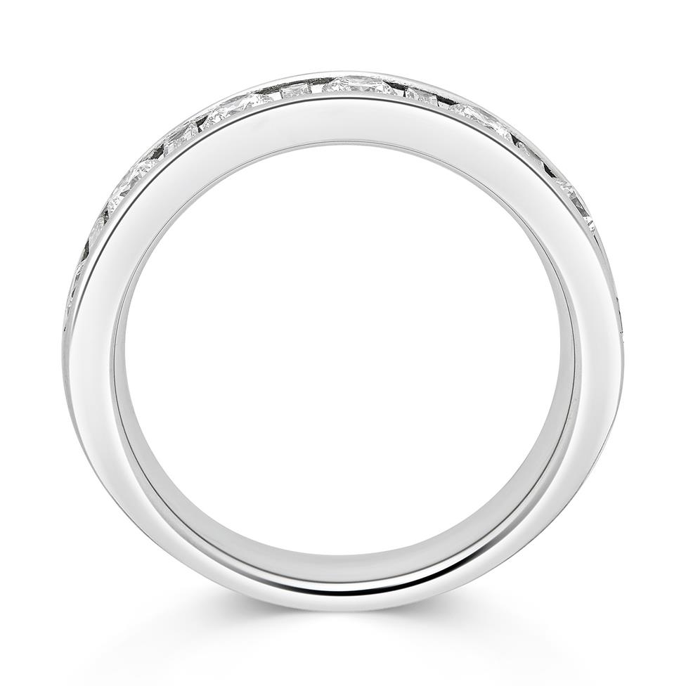 Platinum Alternating Baguette Cut Diamond Half Eternity Ring 0.75ct Thumbnail Image 2