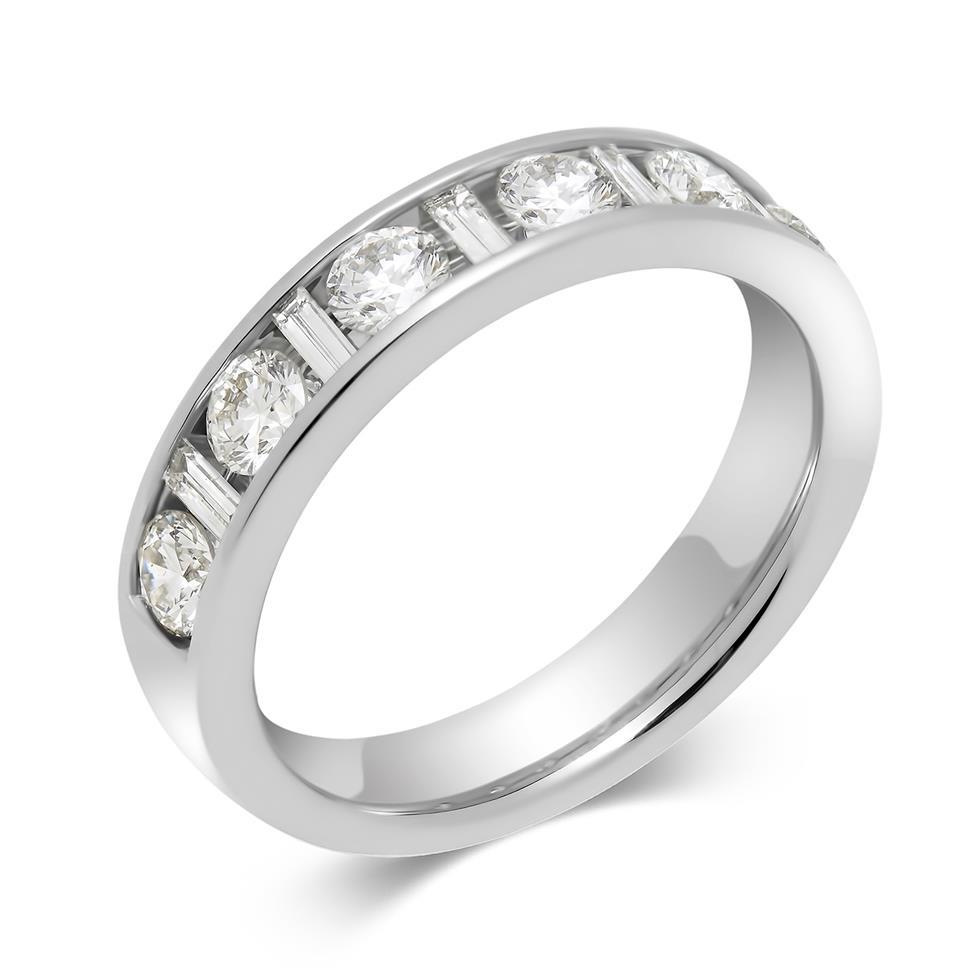 Platinum Alternating Baguette Cut Diamond Half Eternity Ring 1.00ct Thumbnail Image 0