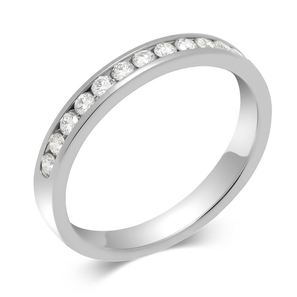 Platinum 0.25ct Diamond True Half Channel Ring Thumbnail Image 0