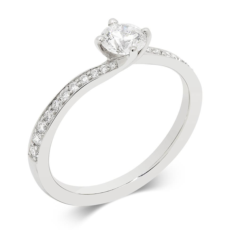 Platinum Twist Design Diamond Solitaire Engagement Ring 0.55ct Thumbnail Image 0