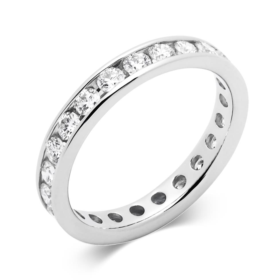 Platinum 1.00ct Full Diamond Channel Ring Thumbnail Image 0
