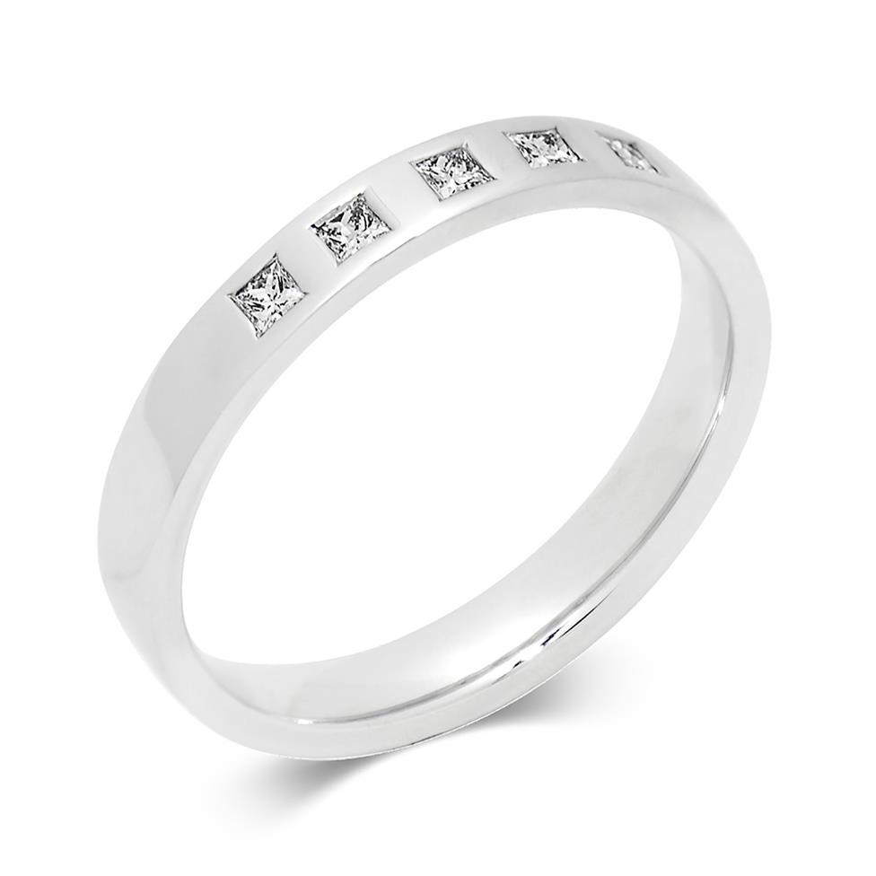 Platinum Princess Cut Diamond Set Wedding Ring 0.10ct Thumbnail Image 0