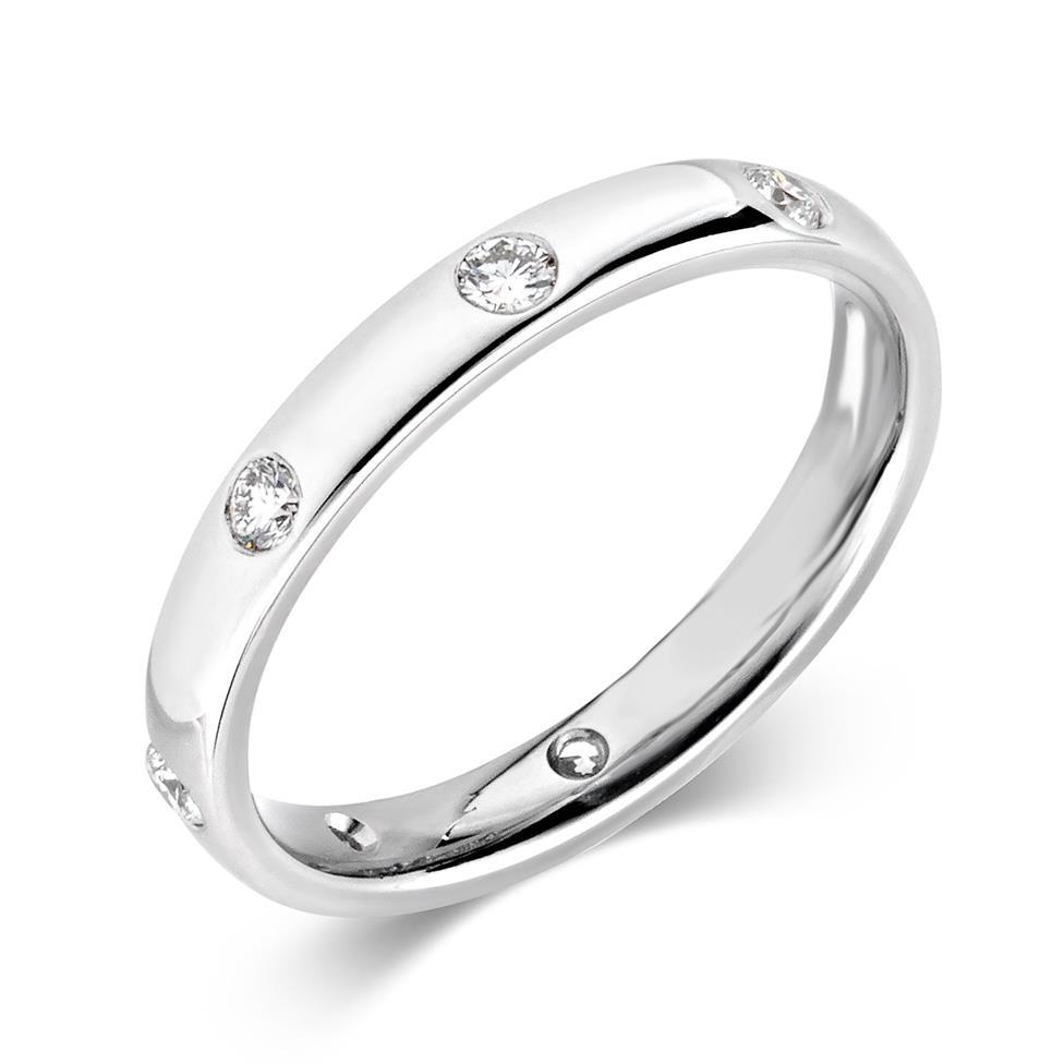 Platinum Diamond Set Wedding Ring 0.30ct Thumbnail Image 0