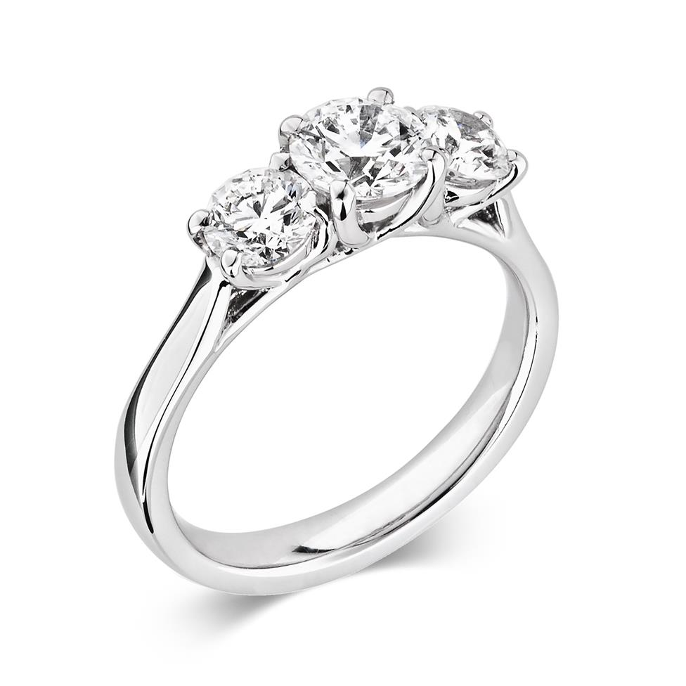 Platinum Round 0.80ct Diamond Three Stone Ring Thumbnail Image 0