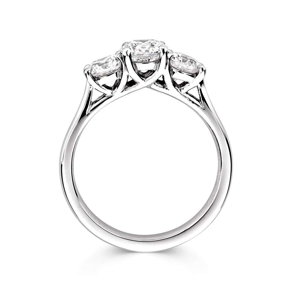Platinum Round 0.80ct Diamond Three Stone Ring Thumbnail Image 1