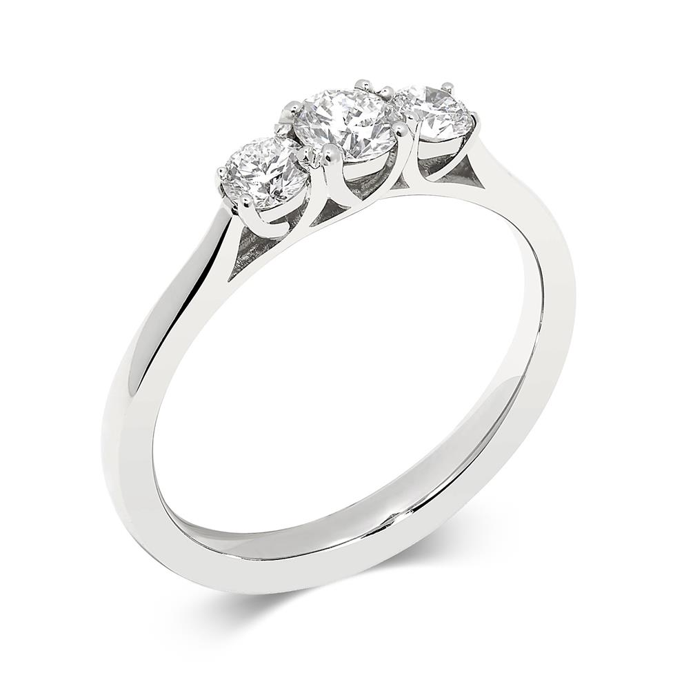 Platinum Round 0.60ct Diamond Three Stone Ring Image 1