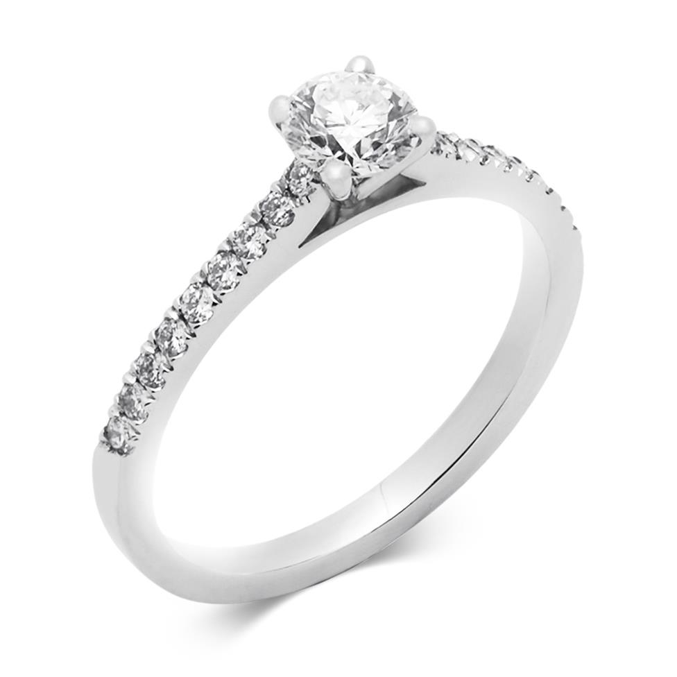 Platinum Classic Channel Shoulder 0.60ct Diamond Solitaire Ring Thumbnail Image 0