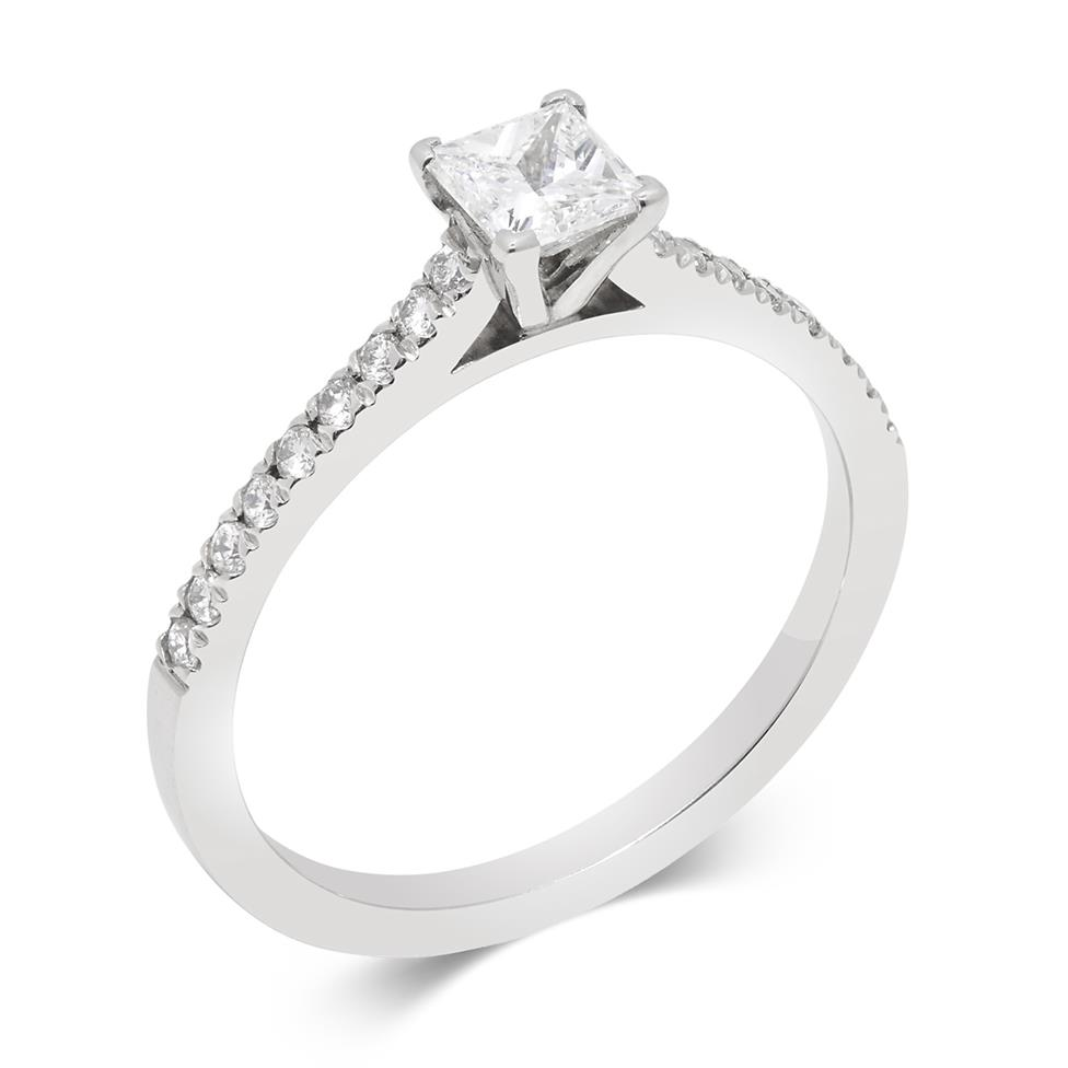 Platinum Contemporary Princess Cut Diamond Solitaire Ring Thumbnail Image 0