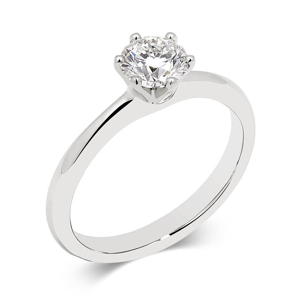Platinum Six Claw 0.70ct Diamond Solitaire Ring Thumbnail Image 0