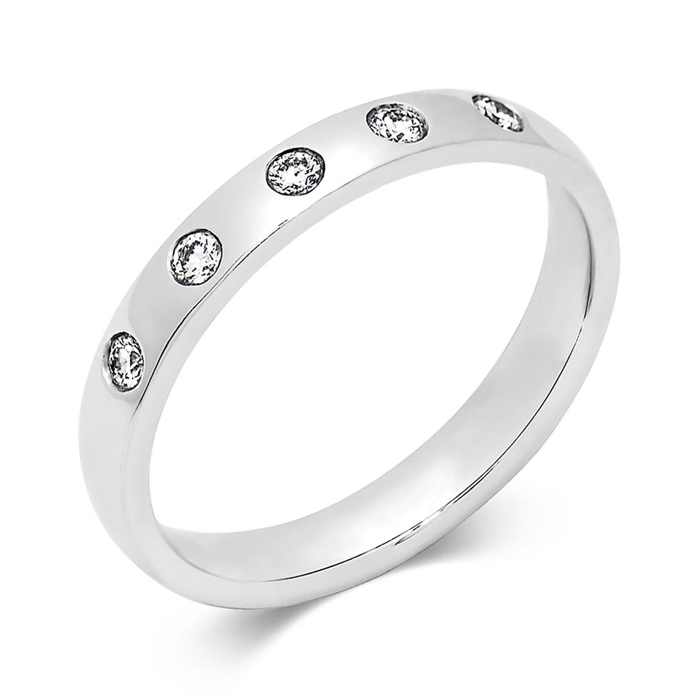 Platinum Rubover Diamond Wedding Ring Image 1
