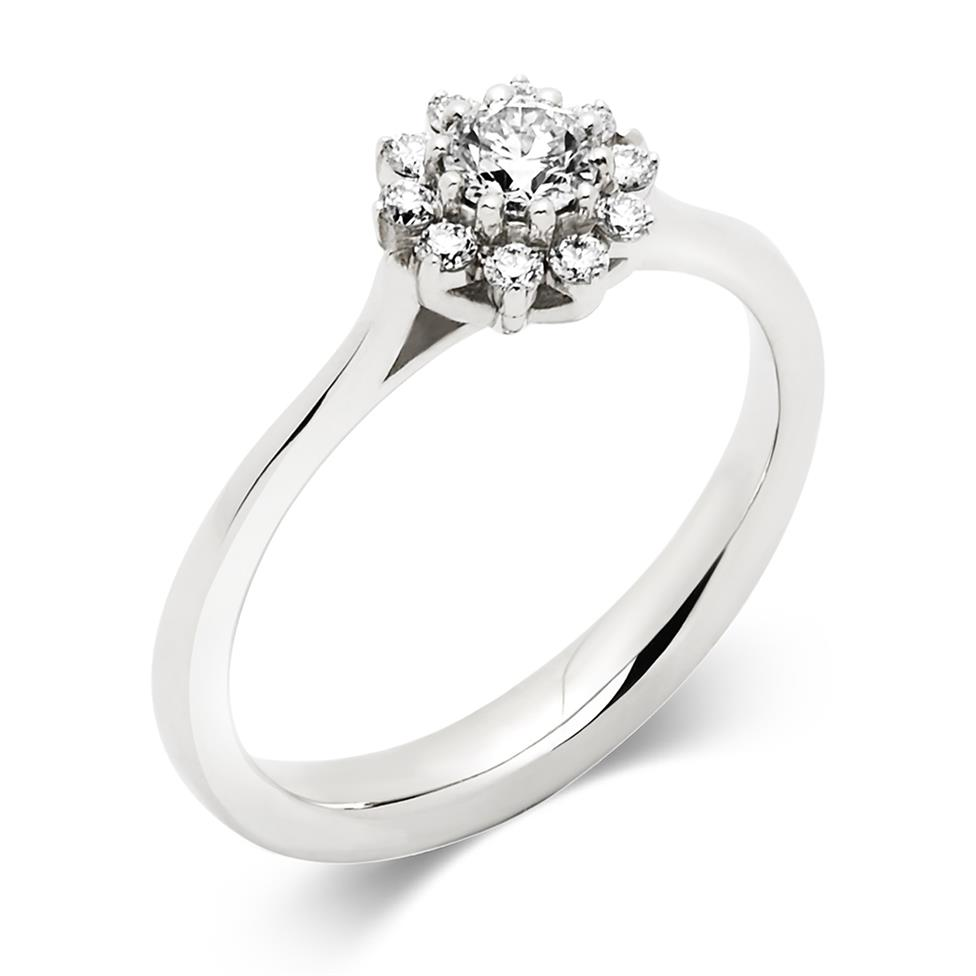 Platinum Diamond Cluster Engagement Ring 0.15ct Thumbnail Image 0