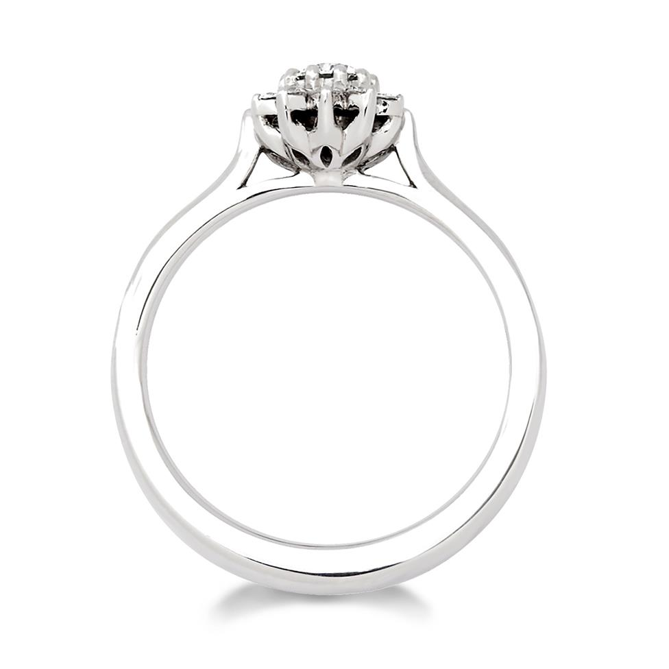 Platinum Diamond Cluster Engagement Ring 0.15ct Thumbnail Image 1